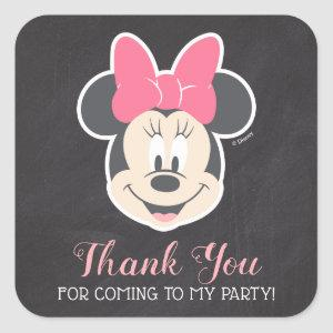 Minnie Mouse Chalkboard Birthday | Thank You Square Sticker