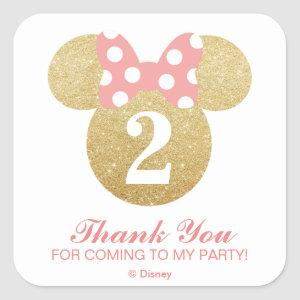 Minnie Mouse | Gold & Pink - Thank You Square Sticker