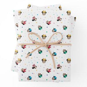 Minnie Mouse Rainbow Bow Pattern Wrapping Paper Sheets