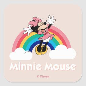 Minnie Mouse | Rainbow & Clouds Square Sticker