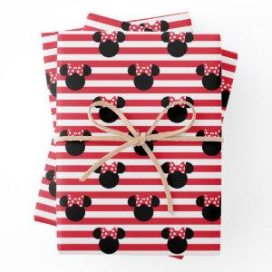 Minnie Mouse | Red & White Stripes Birthday Wrapping Paper Sheets