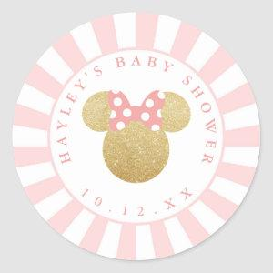 Minnie | Pink Striped Gold Glitter Baby Shower Classic Round Sticker