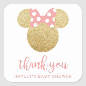 Minnie | Pink Striped Gold Glitter Thank You Square Sticker