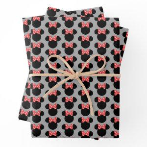 Minnie Polka Dot Head Silhouette | Monogram 2 Wrapping Paper Sheets