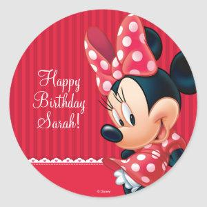 Minnie Red and White Birthday Classic Round Sticker