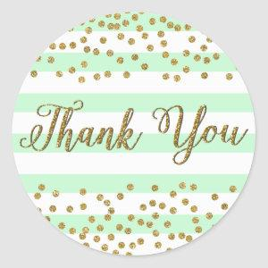 Mint Green Gold Confetti Stripes Party Thank You Classic Round Sticker