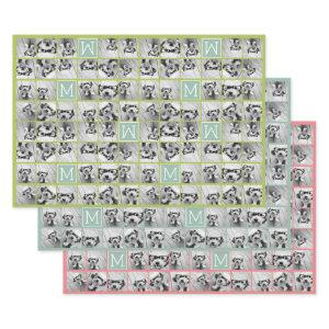 Mint Green Unique Photo Collage Custom Monogram Wrapping Paper Sheets
