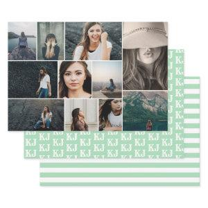 Mint Green White Photo Collage Monogram Wrapping Paper Sheets