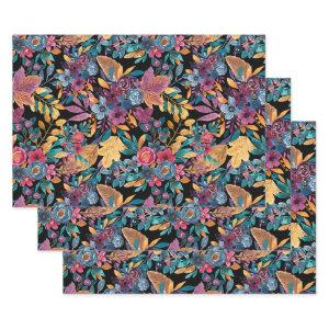 Mixed Fall Floral Leaves Berry Watercolor Pattern Wrapping Paper Sheets