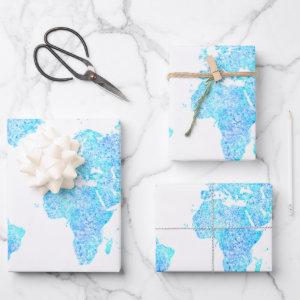 Modern abstract world map   wrapping paper sheets