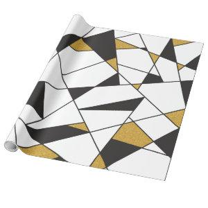 Modern Art Geometry -black and white with gold- Wrapping Paper