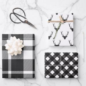 Modern Black & White Christmas Plaid & Reindeer Wrapping Paper Sheets