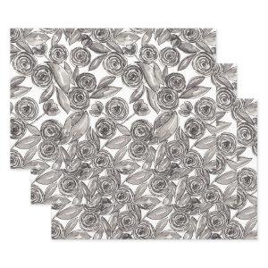 Modern Black White Floral Watercolor Pattern Wrapping Paper Sheets
