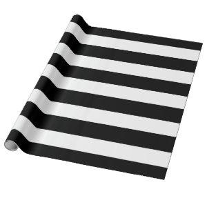 Modern Black White Stripes Pattern Wrapping Paper