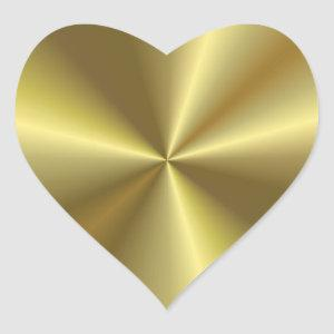Modern Blank Template Elegant Gold Metallic Look Heart Sticker