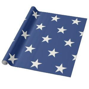 Modern Blue and White Star Pattern Wrapping Paper