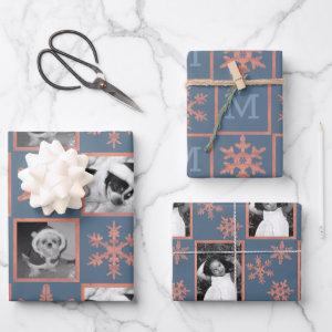 Modern Blue Rustic Snowflake Monogram Photo Wrapping Paper Sheets
