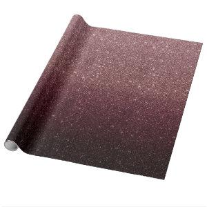 Modern Burgundy Red & Rose Gold Glitter Ombre Wrapping Paper