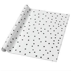 Modern chic black watercolor cute polka dots wrapping paper