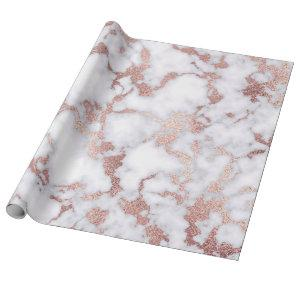 Modern Chic Rose Gold White Marble Stone Pattern Wrapping Paper
