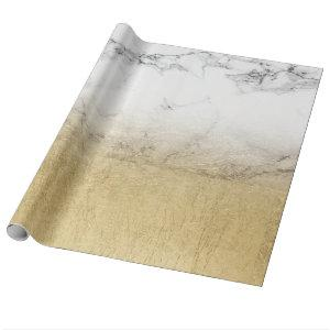 Modern chic simple faux gold white marble ombre wrapping paper
