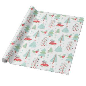 Modern Christmas Trees Holidays Red Car Wrapping Paper