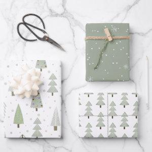Modern Christmas Trees Sage Olive Green Pattern  Sheets