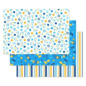 Modern Colorful Hanukkah Wrapping Paper Sheets