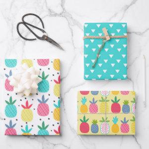 Modern Colorful Tropical Pineapple Girly Patterns Wrapping Paper Sheets