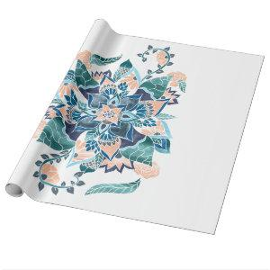 Modern coral blue watercolor floral illustration wrapping paper