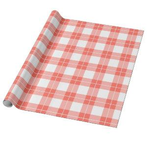 Modern Coral Orange and White Plaid Pattern Wrapping Paper