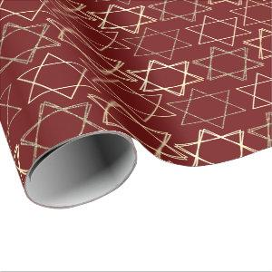 Modern Dark Red Gold Star of David Classic Simple Wrapping Paper
