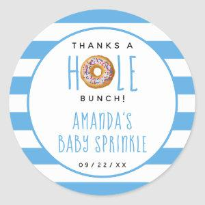 Modern Donut Boys Baby Shower Sprinkle Thank You Classic Round Sticker