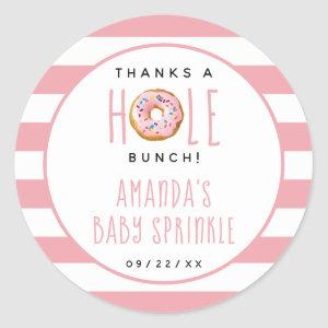 Modern Donut Girls Baby Shower Sprinkle Thank You Classic Round Sticker