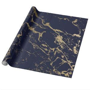 Modern elegant navy blue gold marble pattern wrapping paper