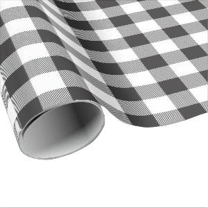 Modern Farmhouse Black and White Buffalo Check Wrapping Paper