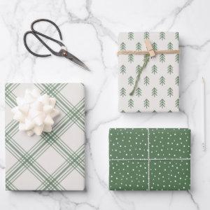 Modern Farmhouse holiday wrapping paper - green