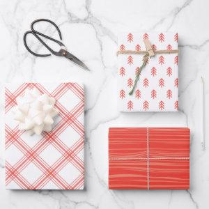Modern Farmhouse holiday wrapping paper - red