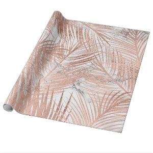 Modern faux rose gold palm tree leaf marble wrapping paper