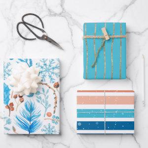 Modern Frozen Blue Christmas Holiday Wrapping Paper Sheets