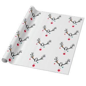 Modern funny abstract Christmas reindeer on white Wrapping Paper