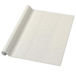 Modern Geometric Gold Squares Pattern on White Col Wrapping Paper