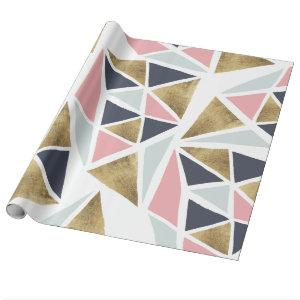 Modern geometric pink navy blue gold triangles wrapping paper