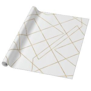 Modern Gold Geometric Strokes Abstract Design Wrapping Paper