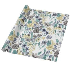 Modern Gray Yellow Floral Watercolor Pattern Wrapping Paper
