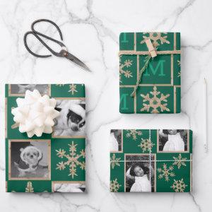 Modern Green Rustic Snowflake Monogram Photo Wrapping Paper Sheets