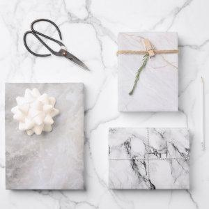 Modern Grey Marble Patterns Wrapping Paper Sheets