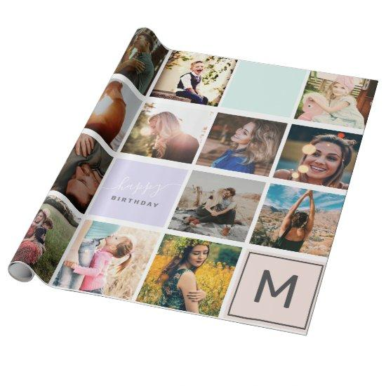 Modern monogram your family 16 photo collage grid