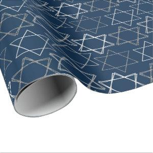 Modern Navy Blue Silver Star of David Minimalist Wrapping Paper