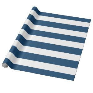 Modern Navy Blue White Stripes Pattern Wrapping Paper